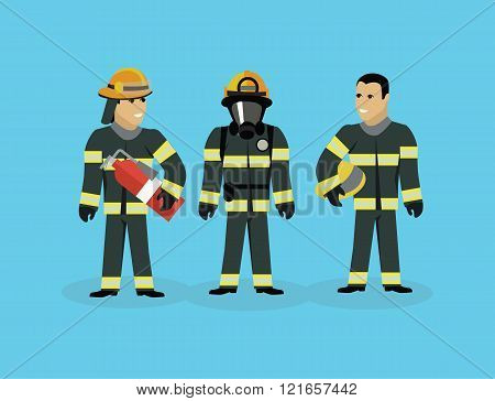 Firefighters Team People Group Flat Style