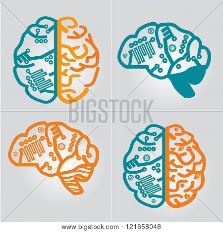Human Brain vector icon set