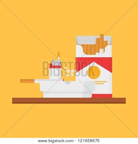 Cigarettes, Lighter, Ashtray Vector Set