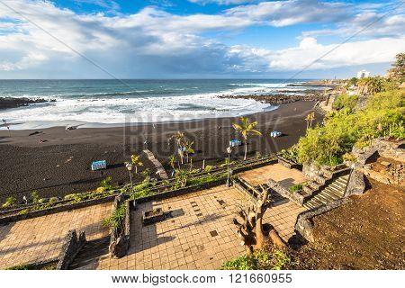 The Coast Of Atlantic Ocean In Puerto De La Cruz, One Of The Most Popular Touristic Towns, Canary Is