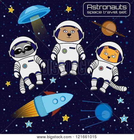 Set of finny vector cartoon cat, bear and raccoon astronauts cosmonauts rocket, ufo, satellite, stars. Vector illustration