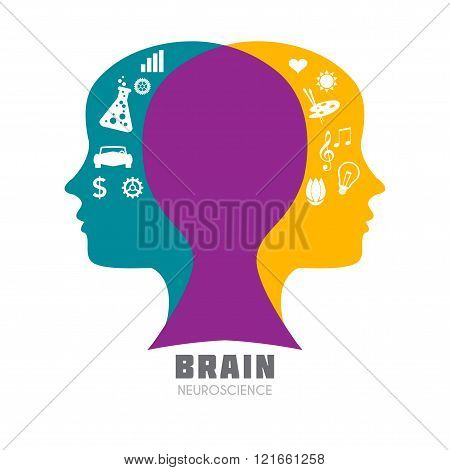 Human head with brain with symbolic brain functions icon.