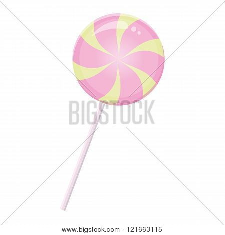 Round pink yellow candy with stick on white background