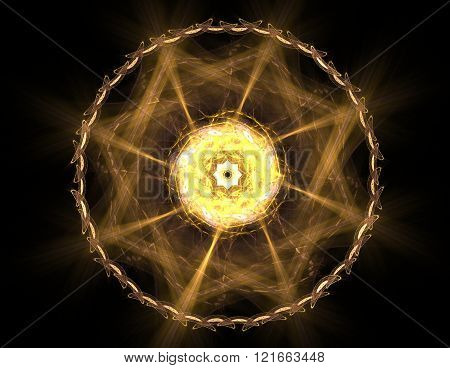 fractal radial pattern on the subject of science technology and design