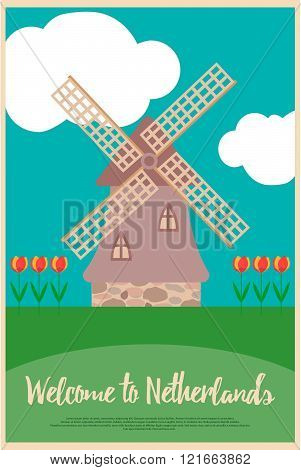 Wndmill And Tulips On A Poster Welcome To Netherlands