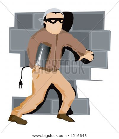 illustration of a thief with clipping path poster