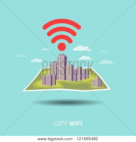 city map, wifi , flat design icon