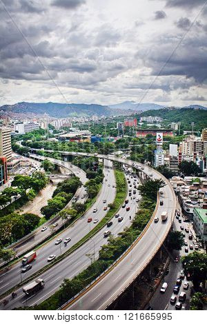 Photography of the main Highway of Caracas