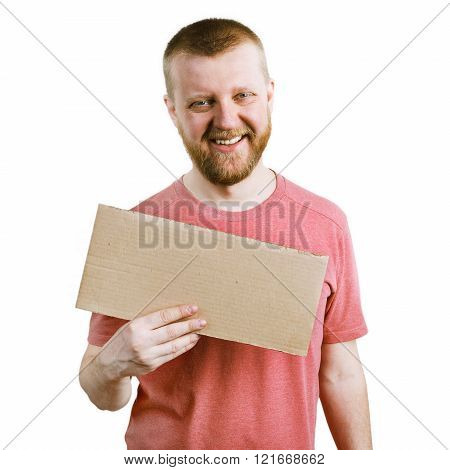 Funny Man With A Cardboard Sign