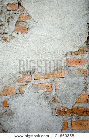 cement wall show red brick