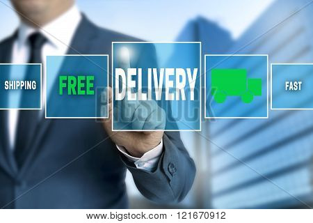 Delivery Touchscreen Is Operated By Businessman