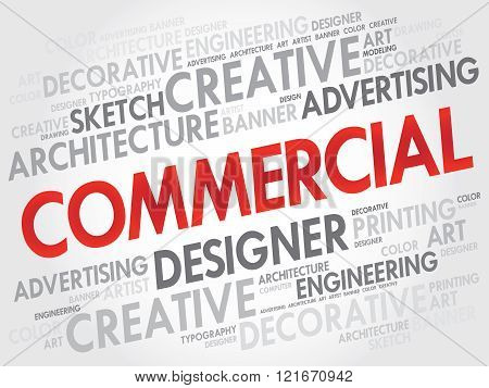 COMMERCIAL word cloud collage concept, presentation background