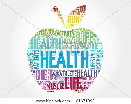 Colorful Health apple word cloud concept, presentation background