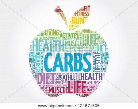 Colorful Carbs apple word cloud concept, presentation background