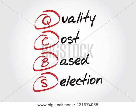 QCBS - Quality and Cost Based Selection, acronym business concept
