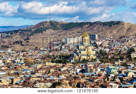 View of Sameba cathedral in Tbilisi