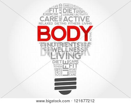 BODY bulb word cloud health concept, presentation background