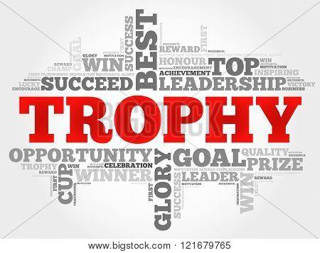 Trophy word cloud business concept, presentation background