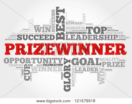 Prizewinner word cloud business concept, presentation background