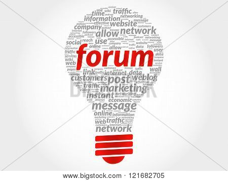 Forum bulb word cloud, business concept, presentation background