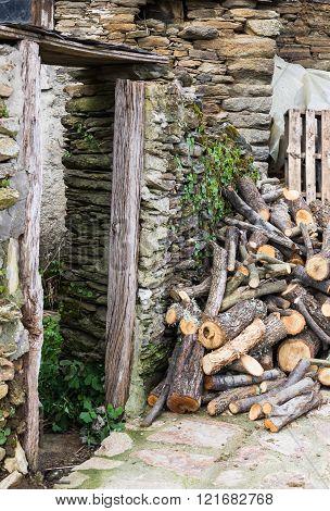 door of the house in ruins