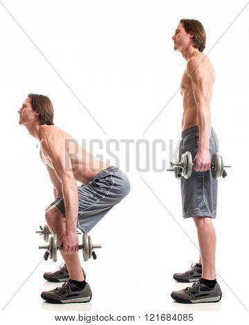 Dumbbell squat exercise. Studio shot over white.