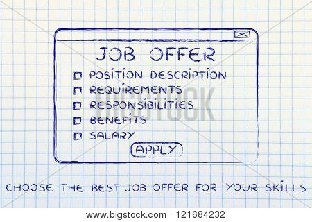 Choose The Best Job Offer For Your Skills, Pop-up With List