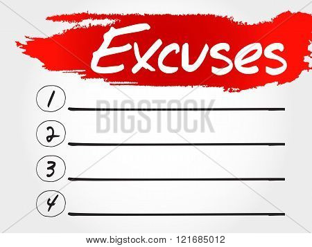 Excuses blank list business concept, presentation background