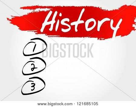 History blank list business concept, presentation background poster