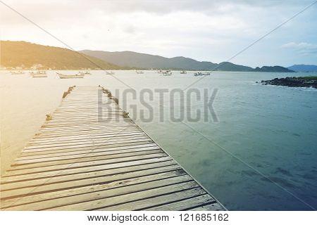 Summer Wood Bridge Vintage Sea Paradise Background