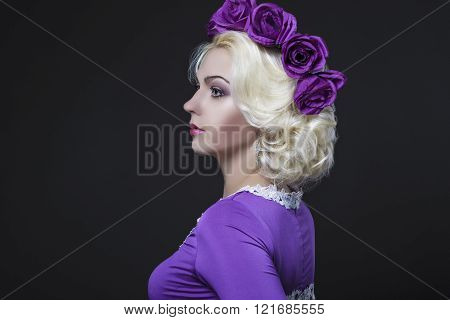Fashion And Beauty Concepts. Portrait Of Blond Caucasian Female With Purple Flowery Crown