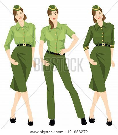 Beautiful military woman invarious formal clothes