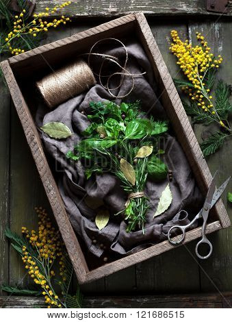 Garni bouquet fresh spring herbs bunch in rustic style