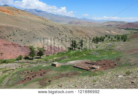 Shepherd house and livestock buildings in Central Asia's mountains