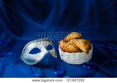 Jewish Holiday Of Purim, Carnival Mask And Hamantaschen