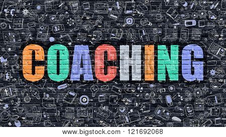 Coaching Concept with Doodle Design Icons.