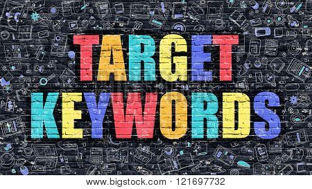 Target Keywords on Dark Brick Wall.