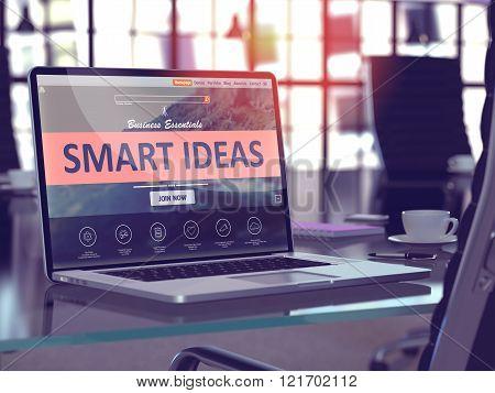Smart Ideas on Laptop in Modern Workplace Background.