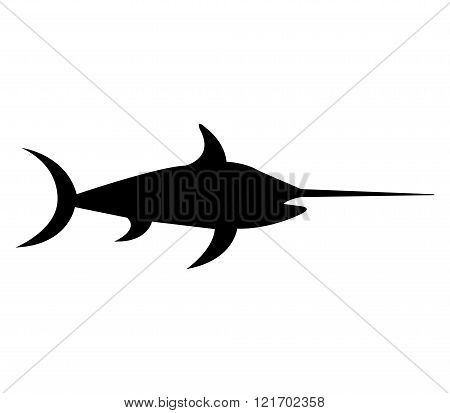 silhouette swordfish illustrated on a white background