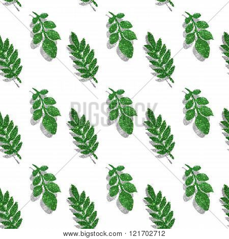 Leaves of green and silver glitter on white background, seamless pattern