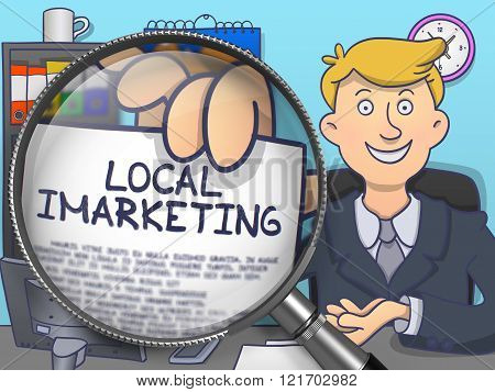 Local Imarketing through Magnifying Glass. Doodle Design.