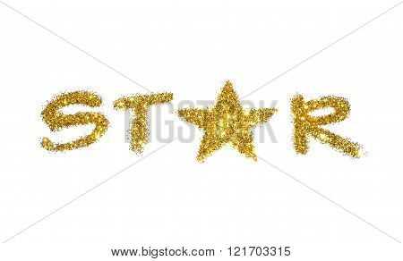 Word Star of golden glitter sparkle on white background
