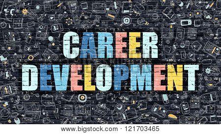 Career Development on Dark Brick Wall.