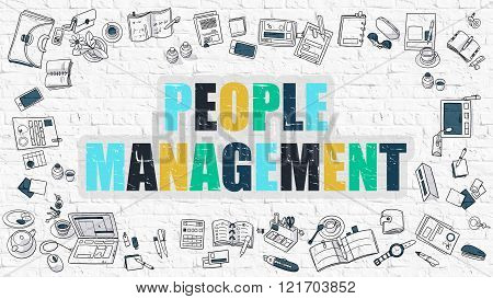People Management Concept with Doodle Design Icons.