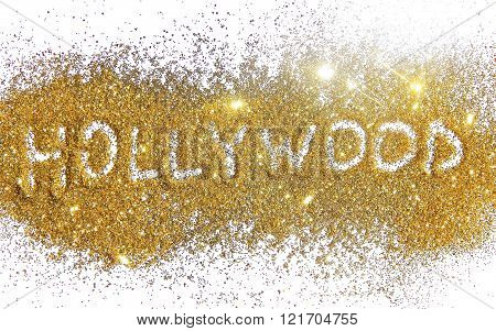 Inscription Hollywood on golden glitter sparkle on white background