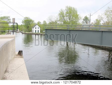 The lock opened on the Rideau Canal in Merrickville of Ontario Canada