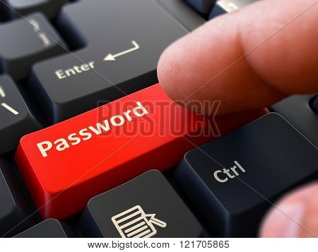 Password - Written on Red Keyboard Key.