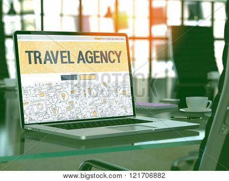 Travel Agency Concept on Laptop Screen.
