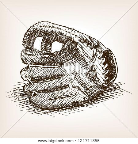 Baseball glove hand drawn sketch style vector