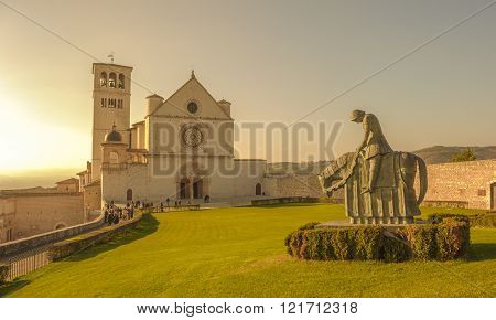 Retro Style Image Of Basilica Of San Francesco D'assisi, Assisi, Italy